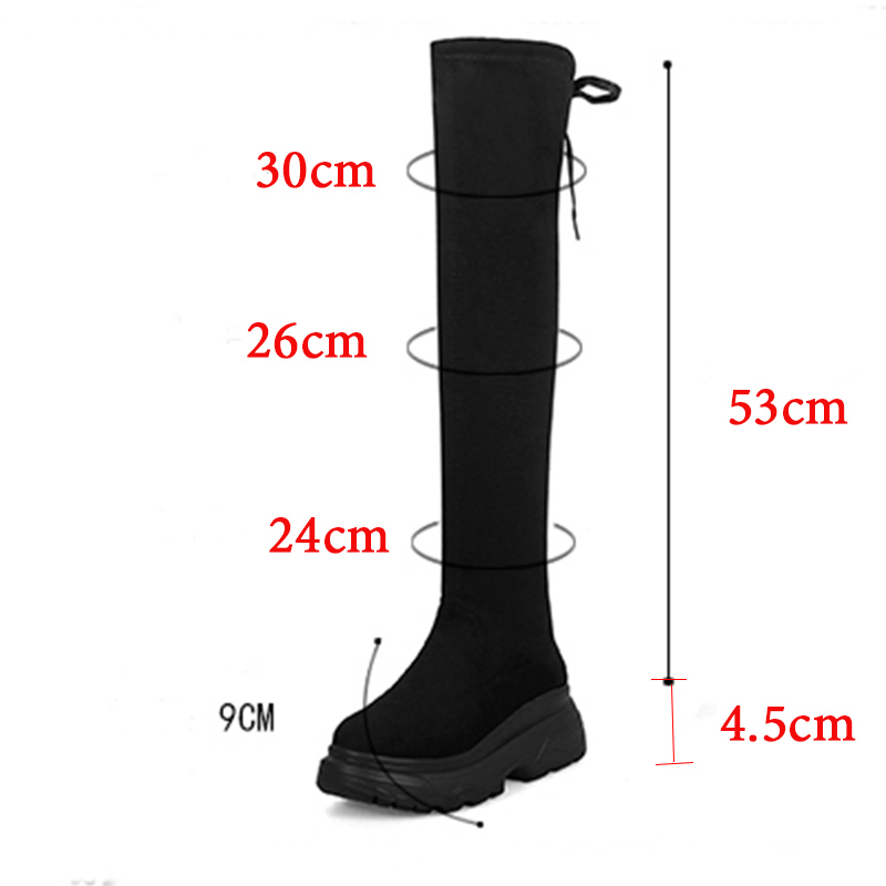 Warm Winter Boots Women Platform Sexy Over The Knee Boots Sexy Boots Female Leather Black Thigh High Boots Rubber Shoes Women in Over the Knee Boots from Shoes