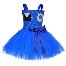 Kids Halloween Costume Carnival Party Police Chase Role Play Dress for Girls Porta Medalhas Tutu Traffic Uniform