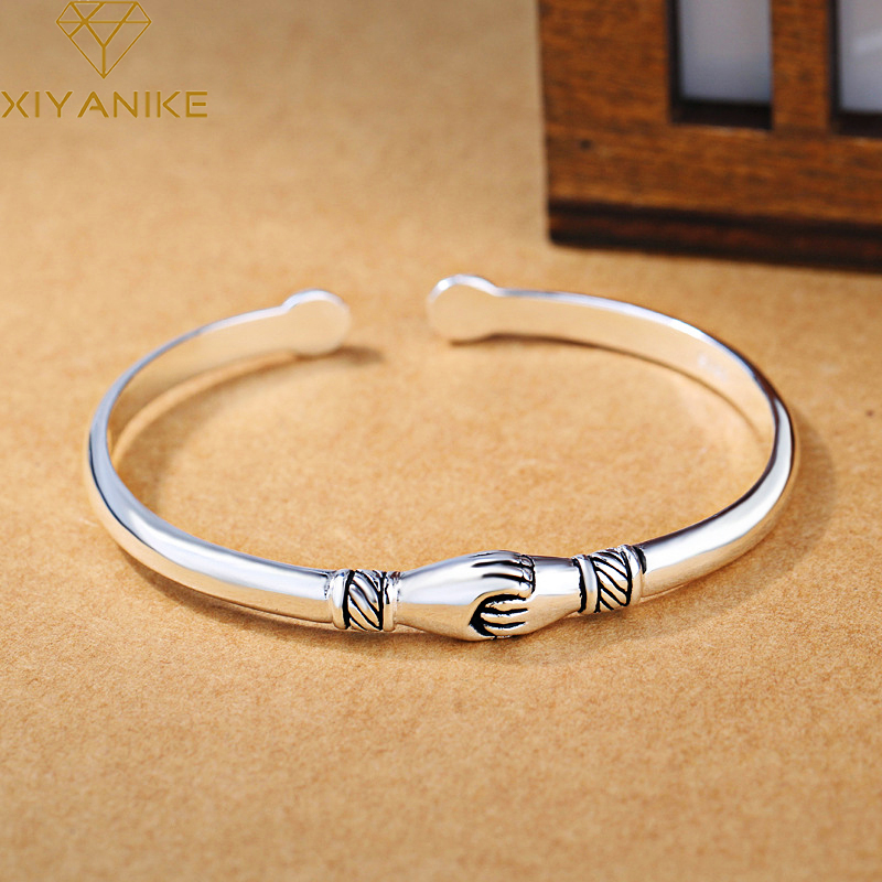 XIYANIKE 925 Sterling Silver Vintage Handshake Creative Bracelet Bangle For Women Fashion Charming Wedding Jewelry Adjustable