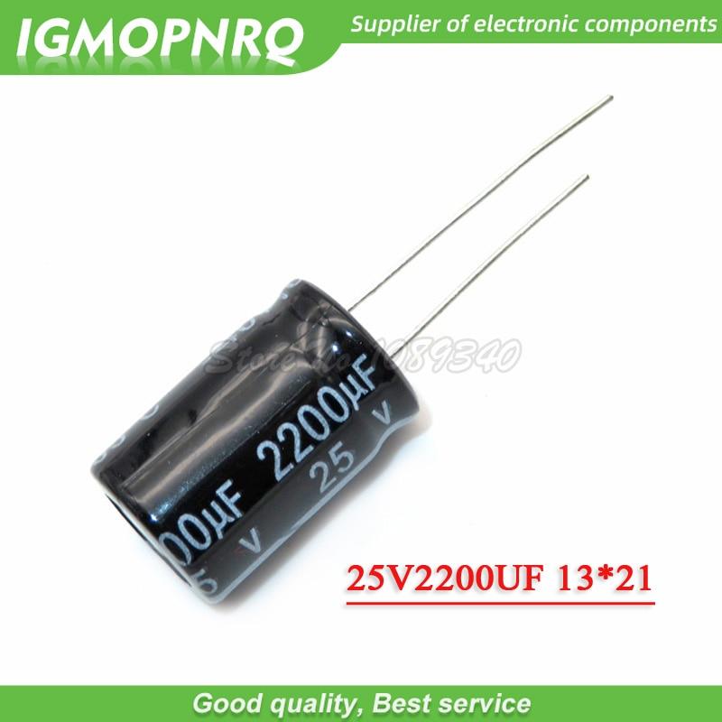 10PCS 25V2200UF  13*21mm 25V 2200UF 13*21 Aluminum Electrolytic Capacitor