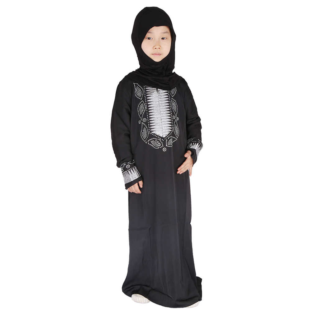 이드 무바라크 블랙 키즈 Abaya 터키 Hijab 이슬람 드레스 Kaftan 두바이 Caftan 여자를위한 아프리카 드레스 라마단 이슬람 의류