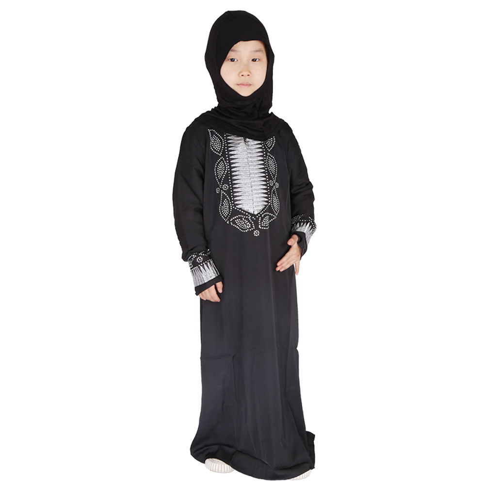 Eid Mubarak Black Kids Abaya Turkey Hijab Muslim Dress Kaftan Dubai Caftan African Dresses For Girls Ramadan Islamic Clothing