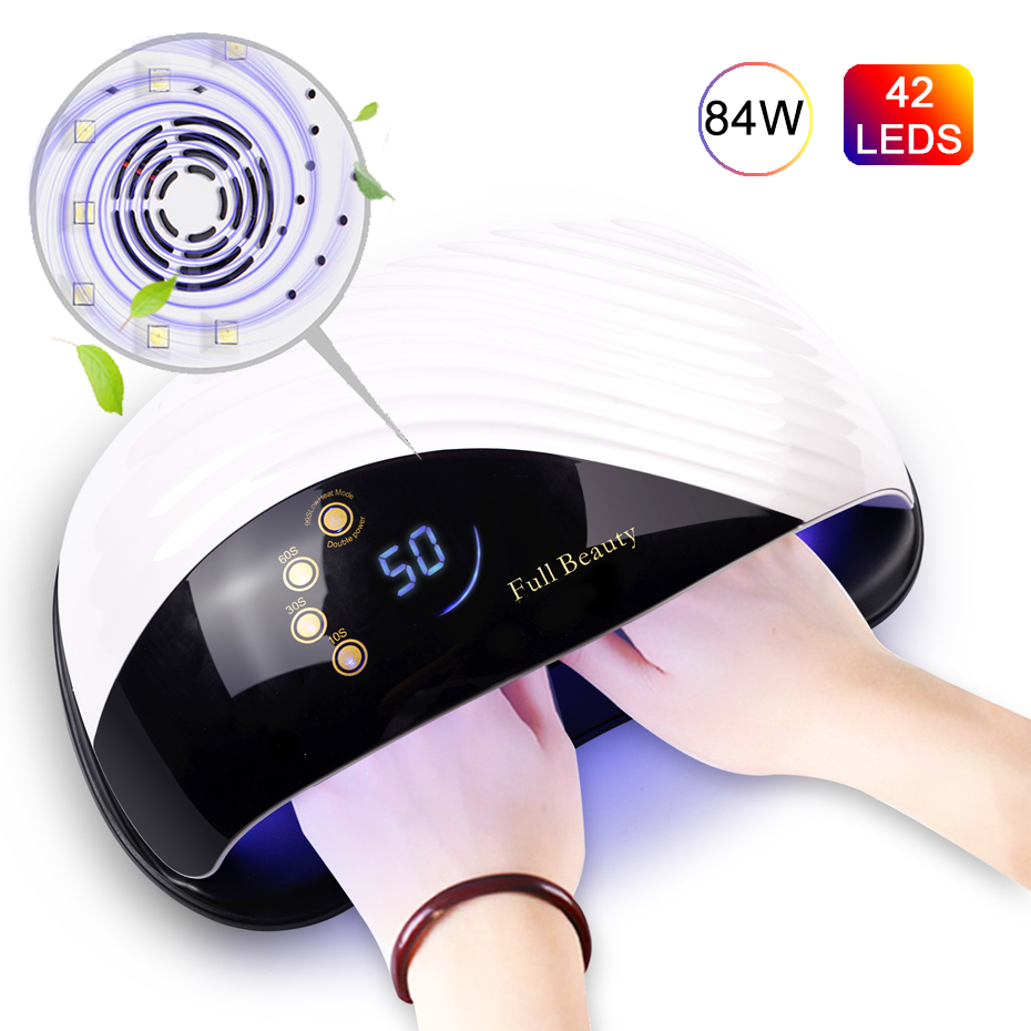 84W Built-in Cooling Fan Nail Dryer LED UV Nail Polish Lamp For Two Hands Care Professional Auto Sensor Manicure Tools SAMDone