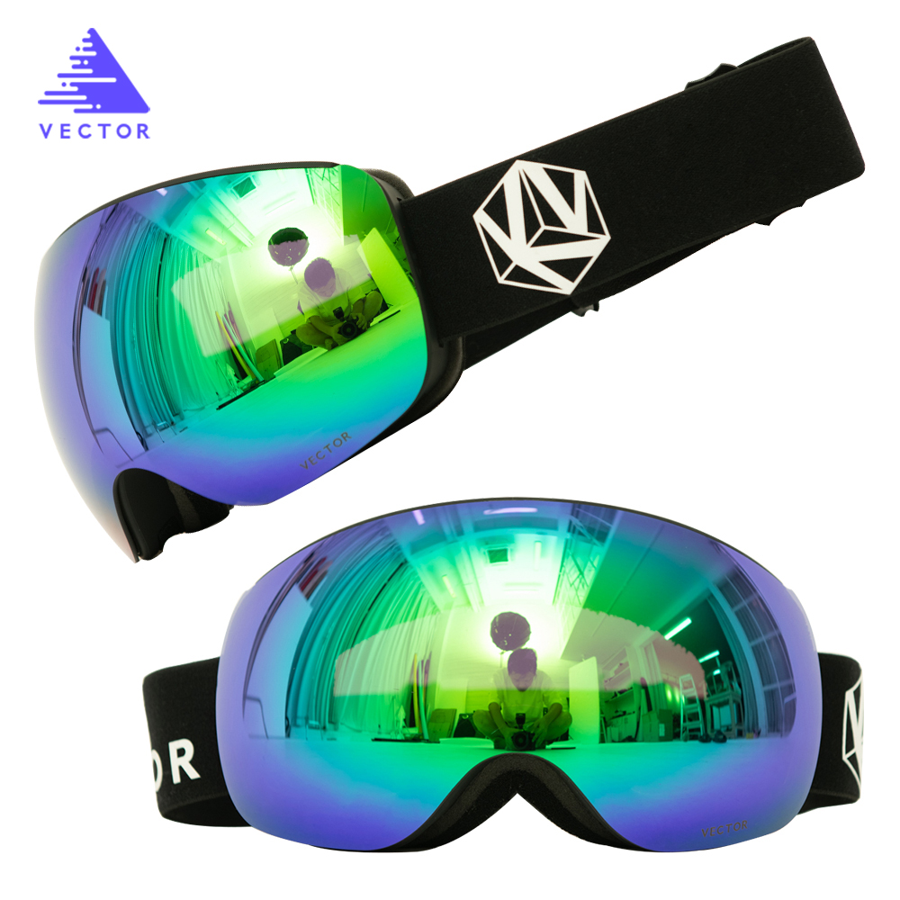 OTG Double Spherical Mirrored Magnetic Ski Snowboard Goggles Women Men Skiing Eyewear Mask UV 400 Snow Protection Glasses Adult