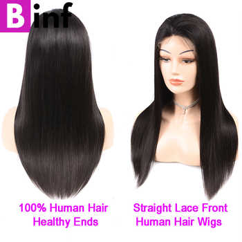 """BINF Peruvian Straight Medium Ratio\""""13X4\""""Lace Front Human Hair Wigs Pre-Plucked With Baby Hair Remy Hair For Women Color 1B"""