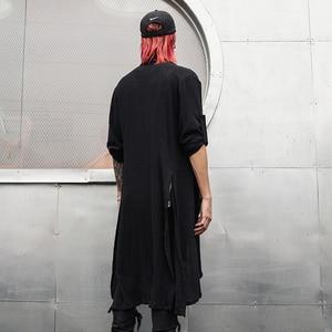 Image 2 - Lente Zomer Koreaanse Stijlvolle Grijs Zwart Extra Lange Pop Punk Vest Linnen Shirts Voor Mannen