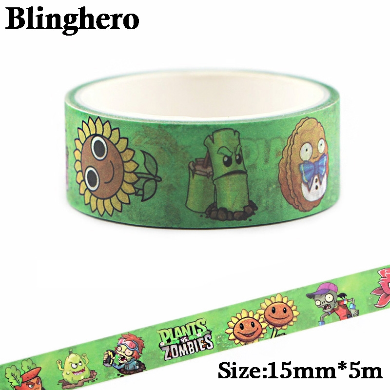 CA398 Plants And Zombies Washi Tape Adhesive Tape DIY Decoration Sticker Scrapbooking Diary Masking Tape Stationery Sticker
