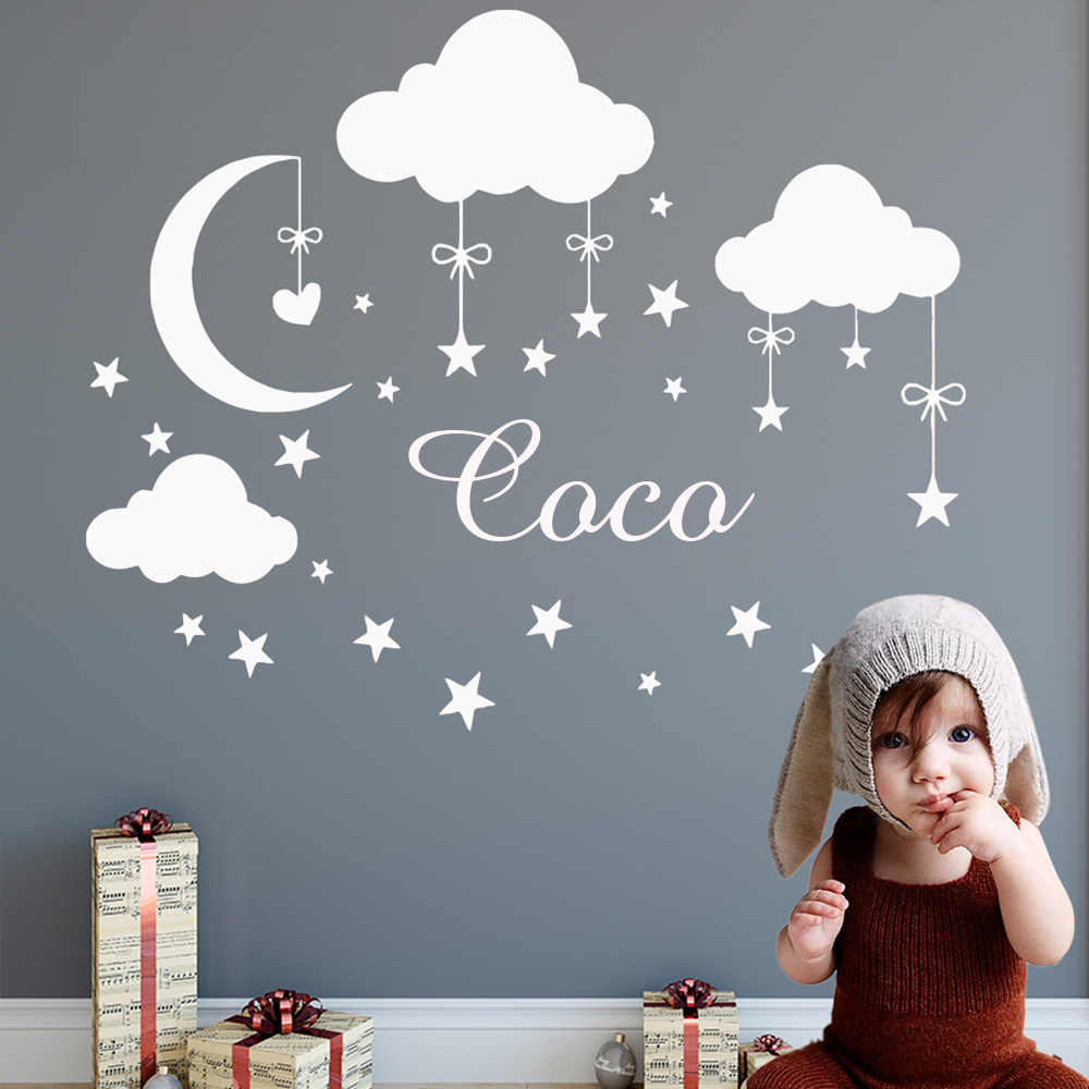 Personalized Custom Name Wall Sticker Cloud Moon Star Vinyl Stickers Decals Girls Bedroom Decor For Kids Babys Rooms Decoration