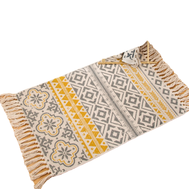 Retro Bohemian Hand Woven Cotton Carpet Tassel Bedside Rug Geometric Floor Mat Living Room Bedroom Home Decoration