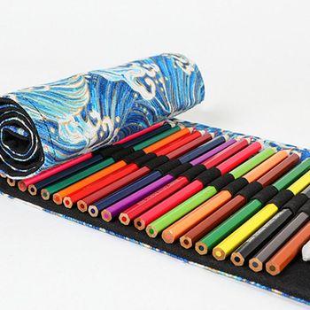 12/24/36/48/72 Holes Canvas Roll Up Pencil Bag Pen Curtain Case Makeup Wrap Holder Storage Pouch 6