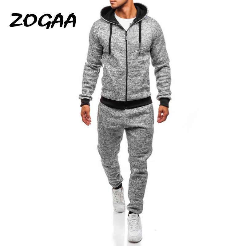 Zogaa Plus Size Heren Sport Pak Casual Solid Streetwear Mannen Trainingspak 2 Delige Set Broek En Tops Gym Jogger Track pak Voor Mannen