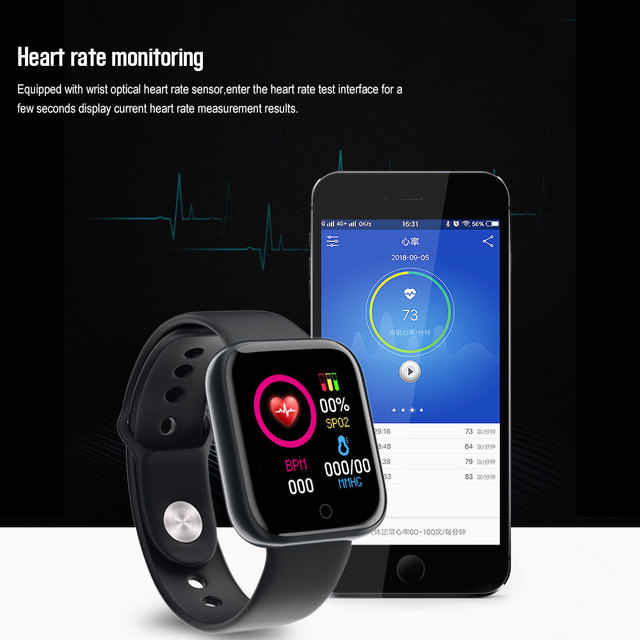 D20 Pro Smart Watch Y68 Bluetooth Fitness Tracker Sports Watch Heart Rate Monitor Blood Pressure Smart Bracelet for Android IOS 4
