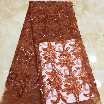 Latest African Lace Fabric 2020 High Quality Lace Nigerian Women Wedding Party Dress Embroidery Sequin French Tulle Lace Fabric