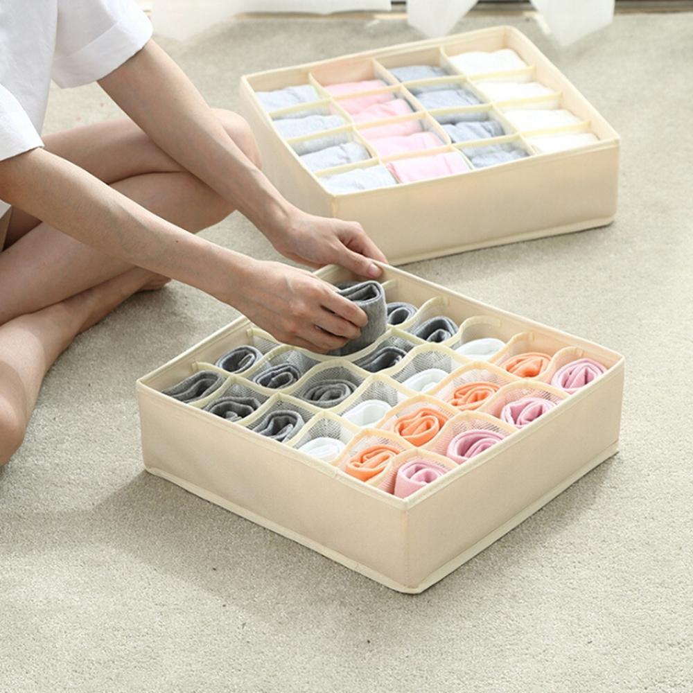 Socks Wardrobe-Box Underwear Compartments Multi-Grids Foldable High-Elastic Mesh-Cloth