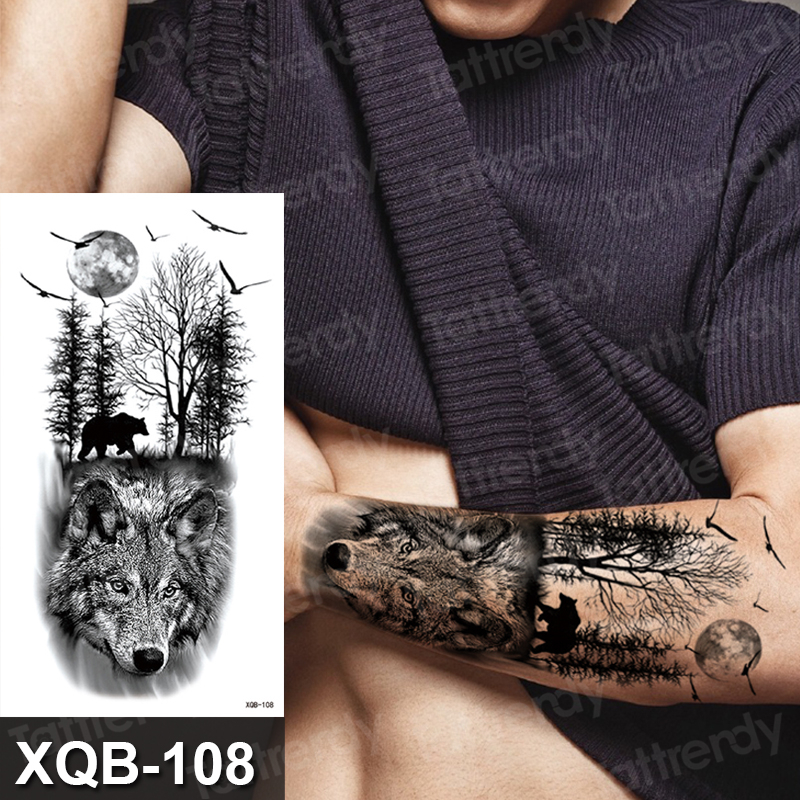 Temporary Tattoo Sticker Forest Moon Bird Bear Animal Tattoos Waterproof  Leopard Wolf Tiger Body Art Arm Flower Fake Tattoo Men