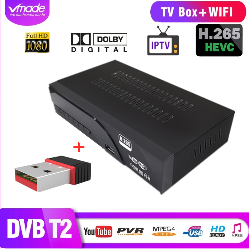 Vmade DVB-T2 H.265 With WIFI DVB T2 In Terrestrial TV Receiver Box With TV SCART Support AC3 Dolby Youtube TPTV Set Top Boxes