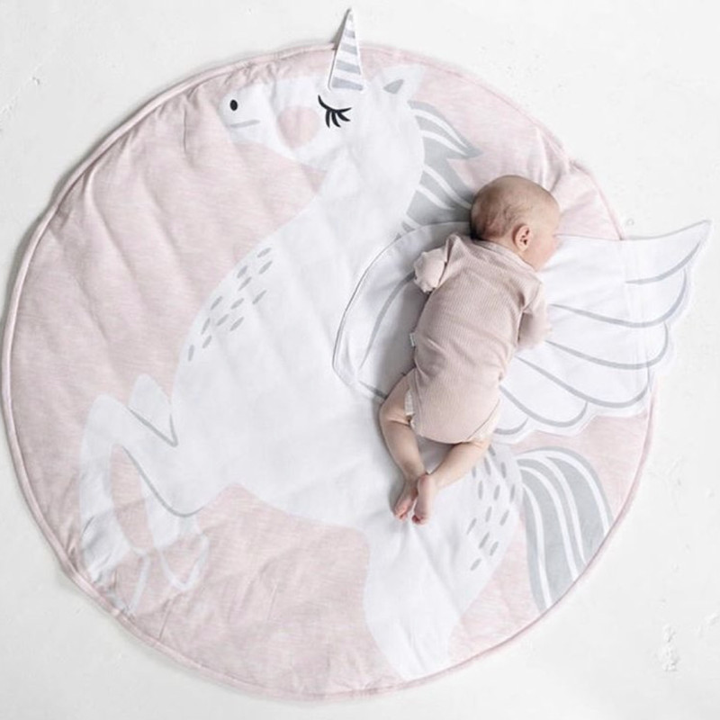 INS Nordic Style Children Baby Round Rugs Mat Kids Play Game Mats Unicorn Crawling Blanket Floor Blanket Carpet Kids Room Deco