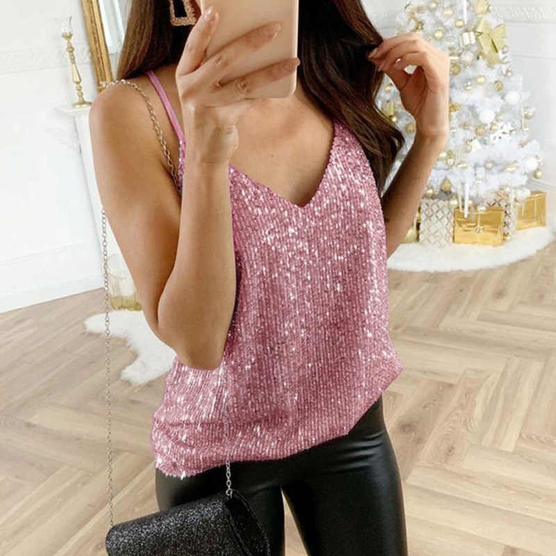 Womens tank top Sequin Glitter Strappy Tank Tops Dames Sexy Sparkle Camis v-hals Swing Vest Clubwear party night tanks