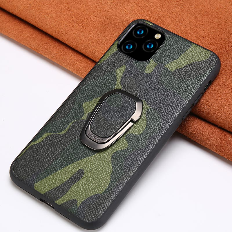 <font><b>Original</b></font> Camouflage Leather Phone <font><b>Case</b></font> for <font><b>iPhone</b></font> 11 Pro 11 Pro Max <font><b>X</b></font> <font><b>XS</b></font> XR 7 8 Plus 6 6s 7 SE New Ring Magnetic Bracket Cover image