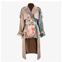 Autumn Winter  Women Print Buddhist Culture Trench Turn-Down Collar Lapel Long Sleeve Loose Khaki Trench Coat Windbreaker lapel collar adjustable sleeve trench coat