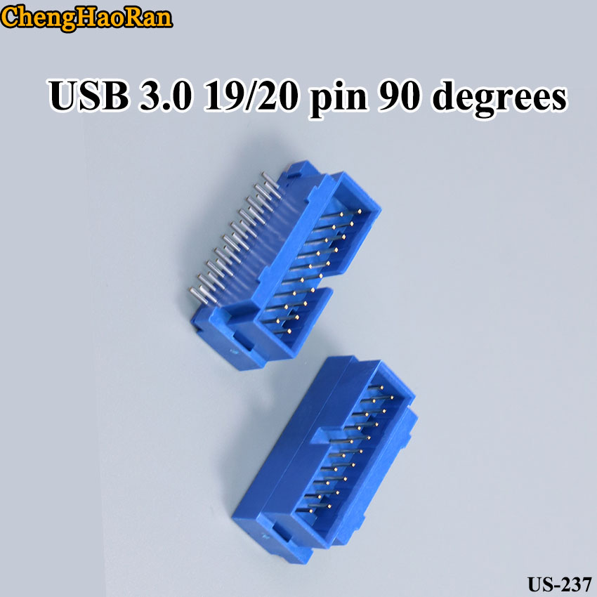 ChengHaoRan 2pcs/lot Chassis Motherboard Interface 19 Pin 90 Degree 20P Male Connector Usb 3.0 Male IDC 20Pin