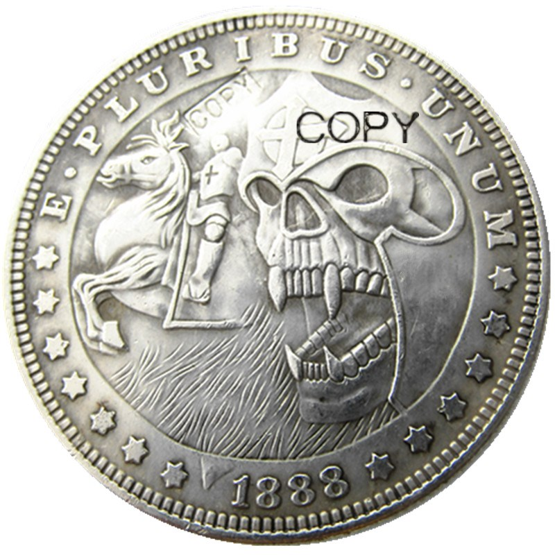 HB(05)US Hobo 1888 Morgan Dollar Skull Zombie Skeleton Silver Plated Copy Coins