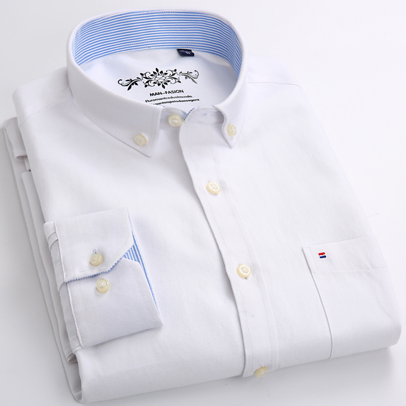 Men's Plus Size Casual Solid Oxford Dress Shirt Single Patch Pocket Long Sleeve Regular-fit Button-down Thick Shirts