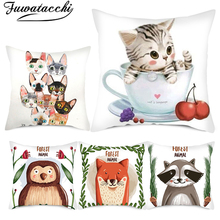 Fuwatacchi Cartoon Cute Animal Cushion Cover Cat Printed Pillow Covers for Home Chair Sofa Decorative White Pillowcases Double fuwatacchi floral cushion cover feather leaves gold pillow cover for decor sofa chair square decorative pillowcases