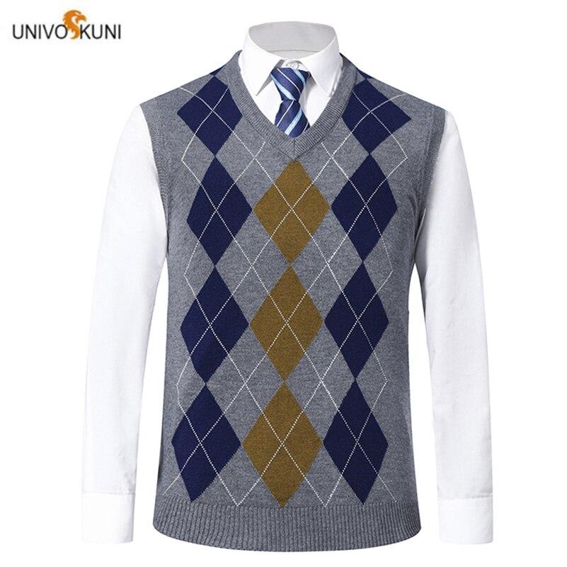 UNIVOS KUNI 2019 Men's Sweater Vest Newest  Spring And Autumn Fashion Diamond Plaid Men's Casual Slim Sweater Vest 1916