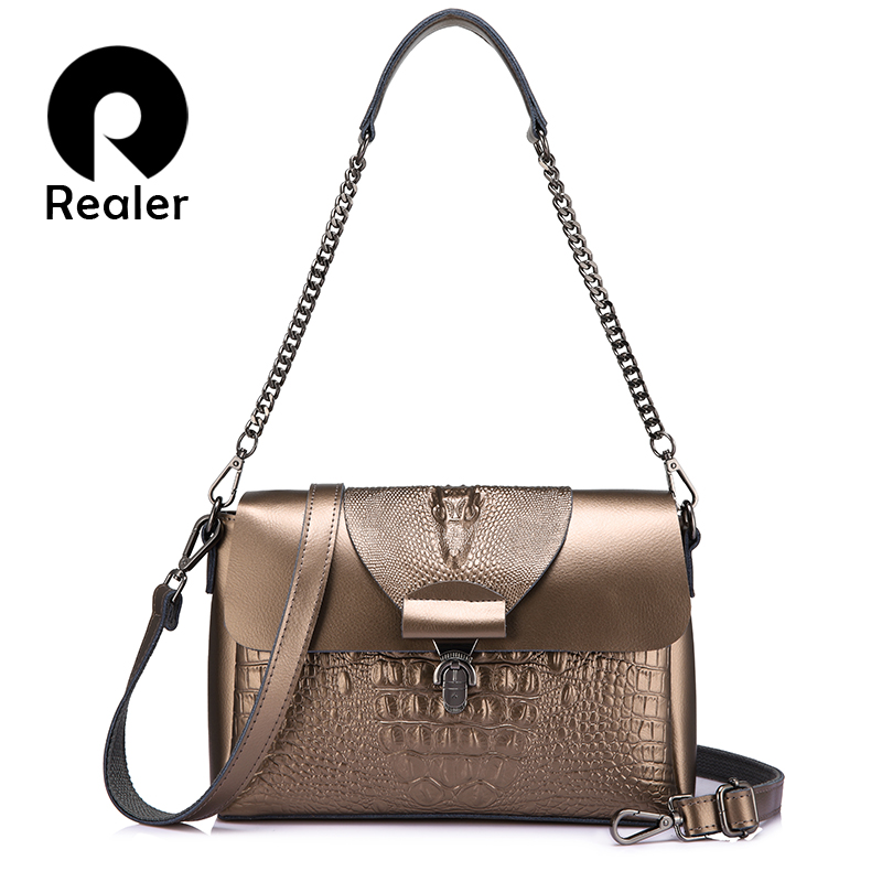REALER Women Messenger Bags Split Leather Top-handle Bags Ladies Handbags Female Crocodile Print Shoulder Crossbody Purse Totes