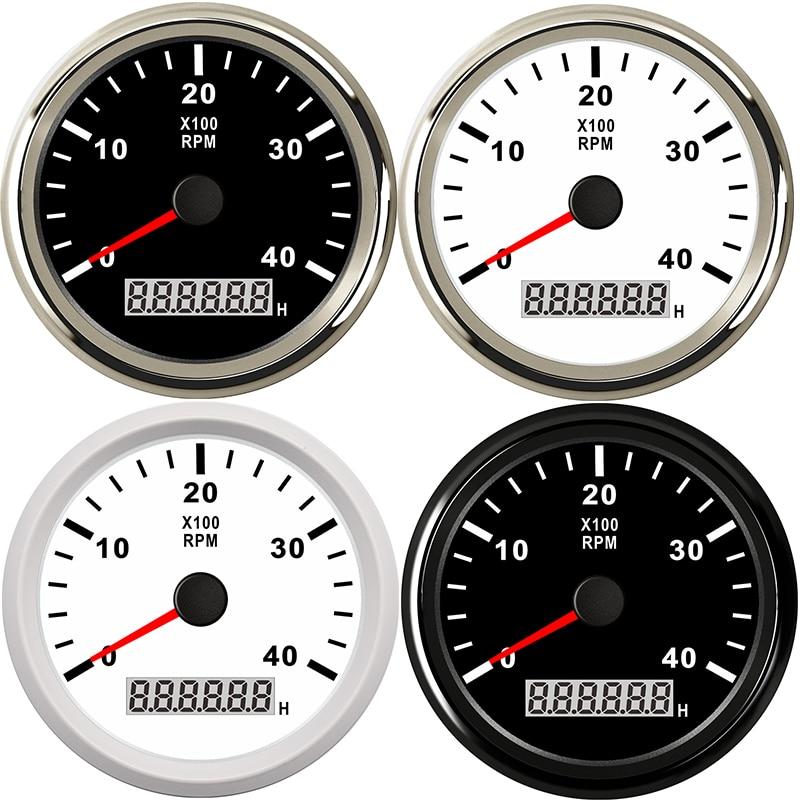Tachymètre marin 85mm moteur heure mètre 0-4000 tr/min numérique hors-bord camion voiture bateau étanche RPM mètre tacometro auto jauge - 6