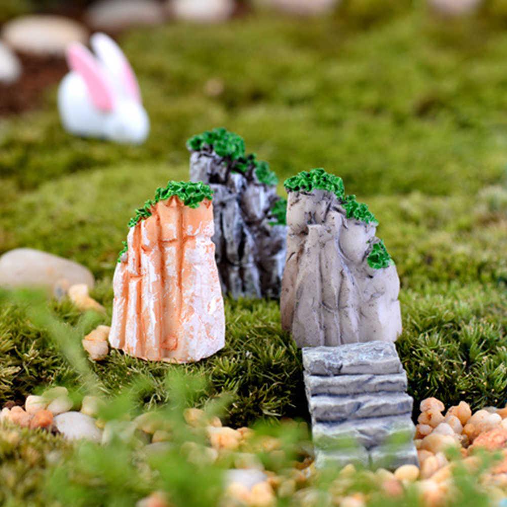 Bebatuan Buatan Hill Patung Miniatur Ikan Kura-kura Tangki Bonsai Mini Resin Ornamen Dekorasi Rumah