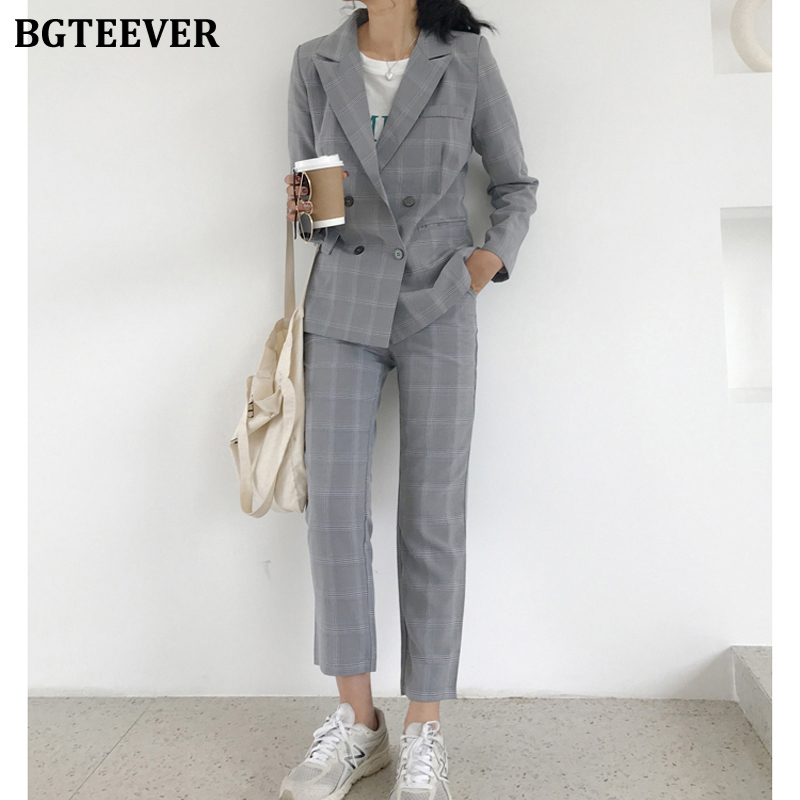 BGTEEVER Fashion Plaid Women Blazer Suits Long Sleeve Double Breasted Blazer Pants Set Office Ladies Two-piece Pant Suit 2020