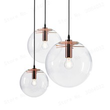Nordic High Quality MoonlightGlass Ball Pendant Handing Lamp Light Luster LED Glass Ball Bar Kitchen Black Luminaire(China)