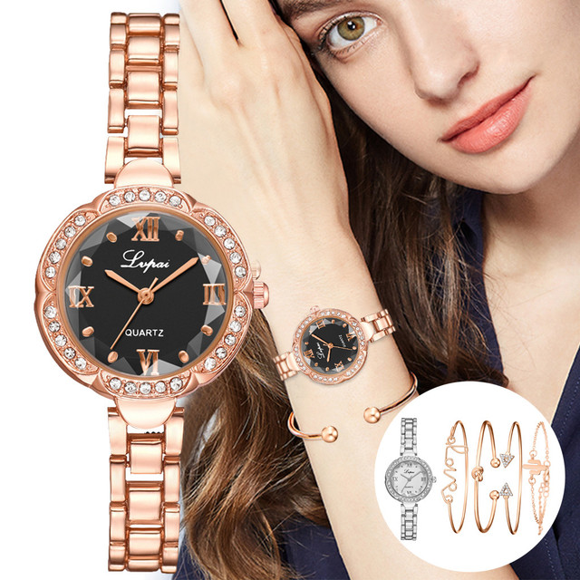 DUOBLA Luxury brand, ladies quartz, fashionable gold crystal watch and bracelet set