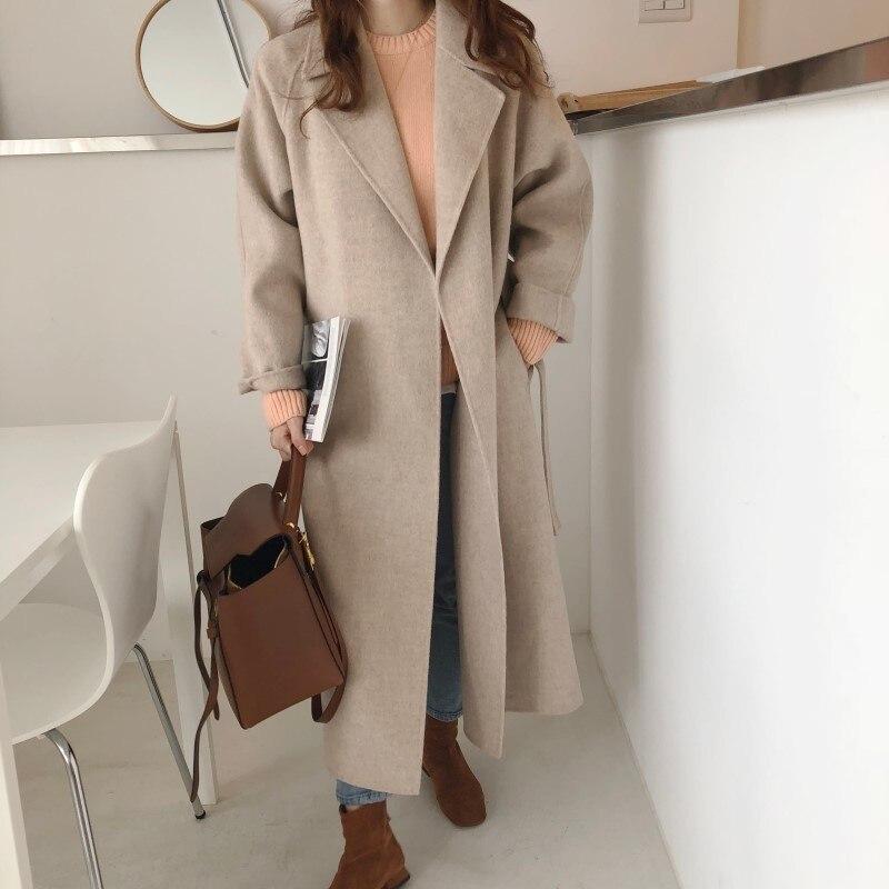 19 Winter Oversize Long Trench Coat Women Cashmere Coat Korean Lady Windbreaker Outwear Streetwear 78