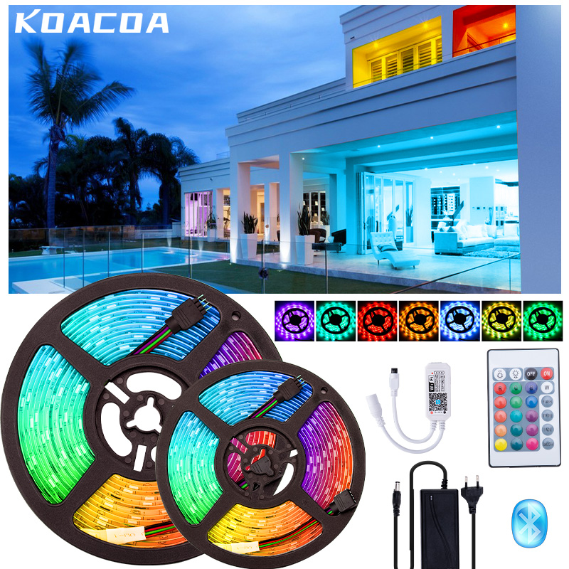 5050 Led Strip 10M 15M Nonwaterproof Night Lamp Light Ribbon Bedroom Decoration RGB Led Diode tape WIFI Controller Power Adapter