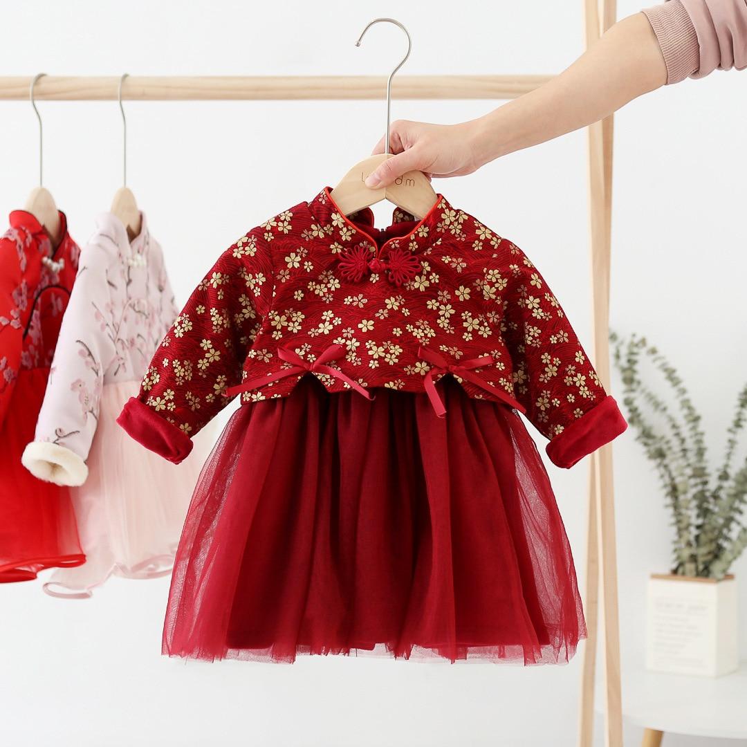 Платье для маленьких девочек; Новогодняя одежда; Традиционное платье с длинными рукавами; Cheongsam; Детская одежда с цветочным рисунком для дев...