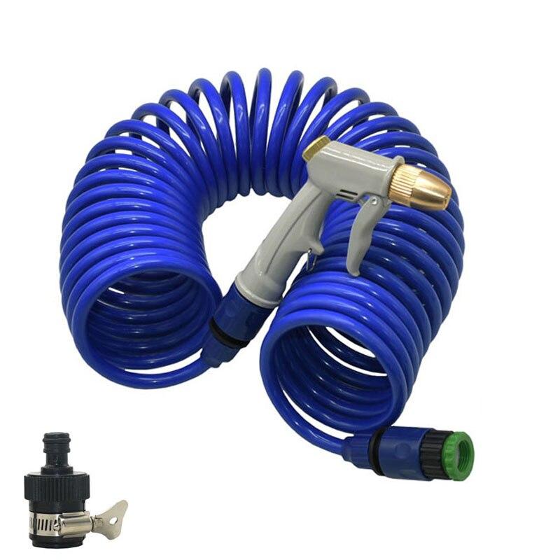 Garden Water Gun Hose Nozzle With EVA Spring Tube Garden Irrigation Sprinkler Mutifunctional Car Washing Yard Water Sprayer Kit