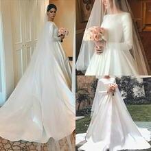 В мусульманском стиле с длинным рукавом атласные свадебные платья