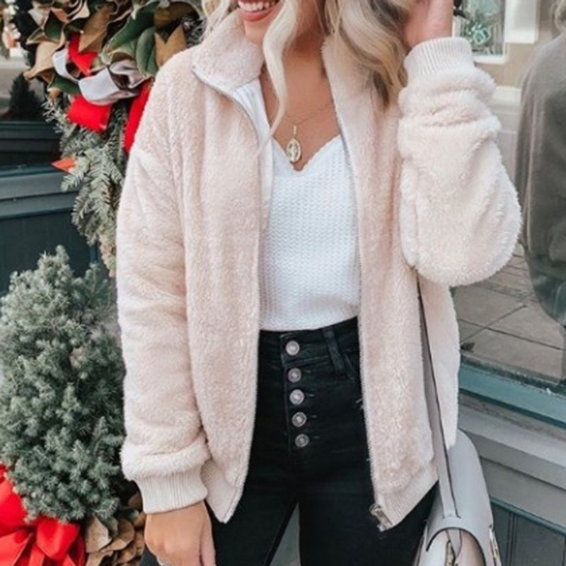Elegant Faux Fur Coat Women 2019 Autumn Winter Warm Soft Zipper Fur Jacket Female Plush Overcoat Casual Teddy Outwear I