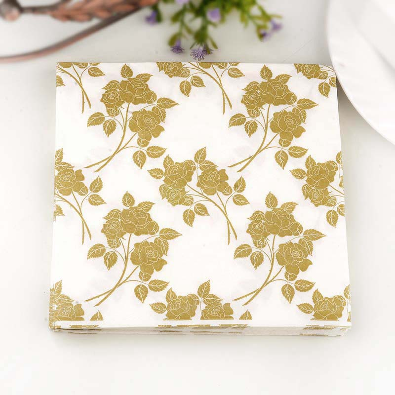 Gold Leaf Printed Napkin Wedding Banquet Wedding Jie Hun Bei Stained Paper Color Paper Placemat Napkin Hotel Banquet Paper