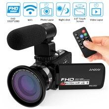 """Andoer 1080P HD WiFi 3,"""" lcd сенсорный ИК ночного видения портативная видеокамера+ микрофон+ 0.39X широкоугольный объектив"""