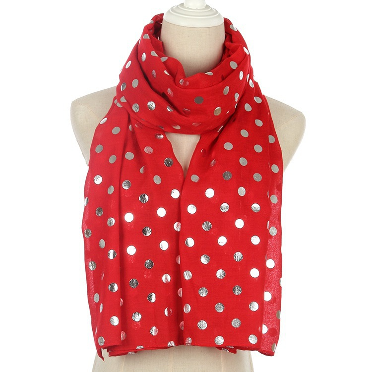 2019 Fashion Polka Dot Glitter Scarf Women Female Yellow Pink Red Shiny Foil Silver Scarf Shawl For Ladies Stole