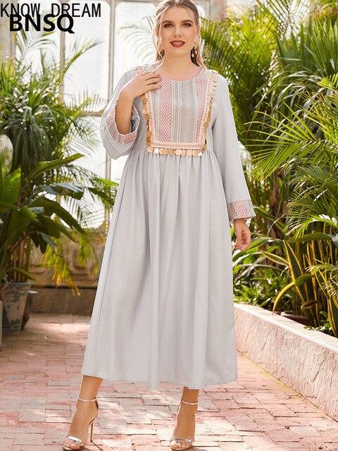 KNOW DREAM Dress Women Plus Size Women's Round Neck Long Sleeve Fashion Print Stitching Beads Waist Fashion Muslim Dress 4