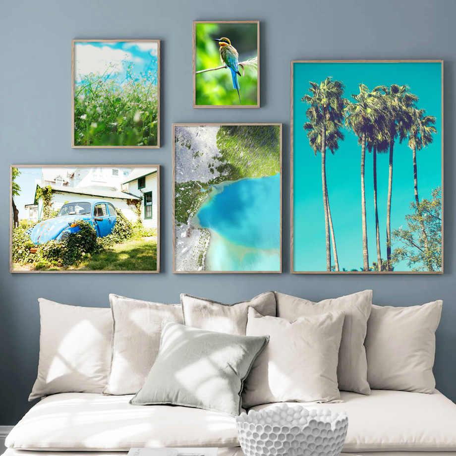 Bleu Mer Vert Plantes Voiture Oiseau Mur Art Toile Peinture Nordique Affiches Et Impressions Paysage Mur Photos Pour Salon Décor