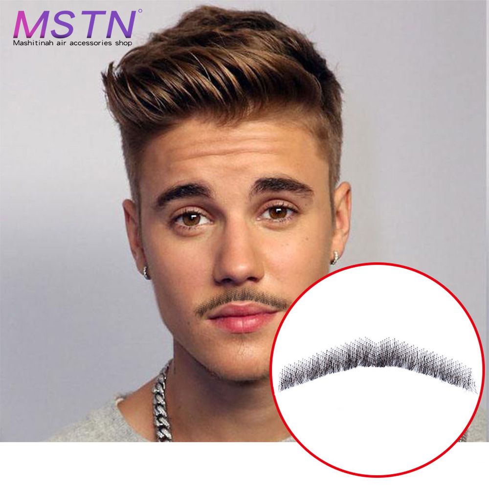MSTN  Lace Beard For Men Cosplay Swiss Lace Invisible Fake Beards SalonChat100% Hair Hand Made Mustache Remy Hair