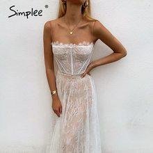 Simplee Sexy white lace summer women maxi dresses Beach spaghetti strap backless plus size dress Mesh femme long dress vestidos