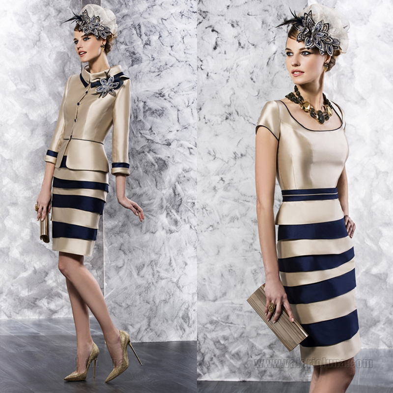 New Design Three Quarter Sleeve Knee Length Long Champagne Mother Of The Bride Dresses With Jacket(MO-8133)