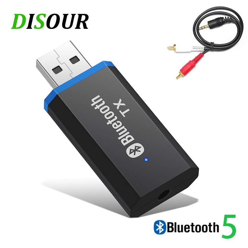 DISOUR Plug And Play 5.0 USB Bluetooth Audio Transmitter 3.5mm AUX RCA Jack Stereo Music BT Wireless Adapter For TV PC Headphone